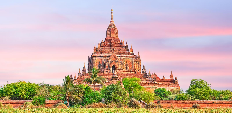 Ναός Htilominlo σε Bagan Myanmar στοκ φωτογραφίες