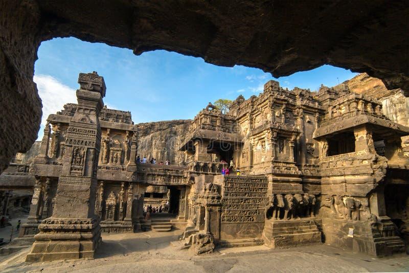 Ναός Kailas στις σπηλιές Ellora σύνθετες στην Ινδία στοκ φωτογραφία με δικαίωμα ελεύθερης χρήσης