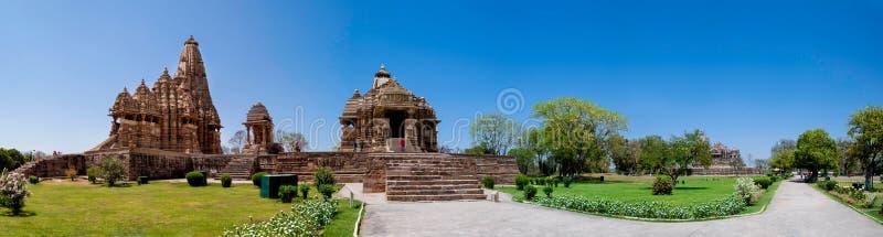 Ναός Khajuraho πανοραμικός, Ινδία στοκ φωτογραφία με δικαίωμα ελεύθερης χρήσης
