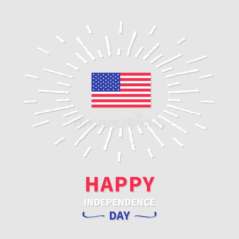 Να λάμψει σημαιών επίδρασης ημέρα της ανεξαρτησίας που ενώνεται ευτυχής ελεύθερη απεικόνιση δικαιώματος