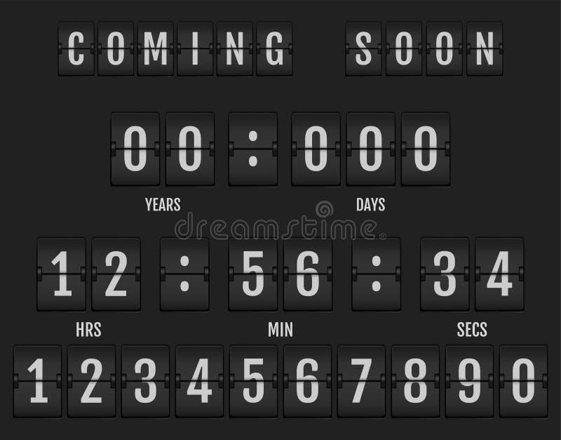 Να έρθει σύντομα έμβλημα που παρουσιάζει πόσος χρόνος αφήνεται διανυσματική απεικόνιση