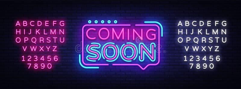 Να έρθει σύντομα διάνυσμα σημαδιών νέου Ερχόμενος σύντομα διακριτικό στο ύφος νέου, στοιχείο σχεδίου, ελαφρύ έμβλημα, πινακίδα νέ διανυσματική απεικόνιση