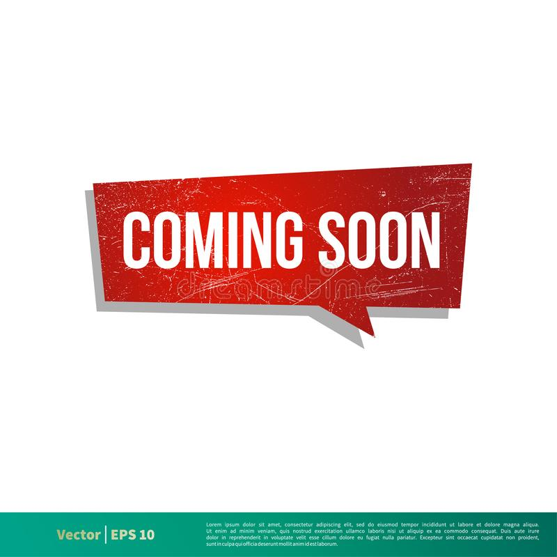 Να έρθει σύντομα διανυσματικό σχέδιο απεικόνισης προτύπων εμβλημάτων λεκτικών φυσαλίδων r διανυσματική απεικόνιση