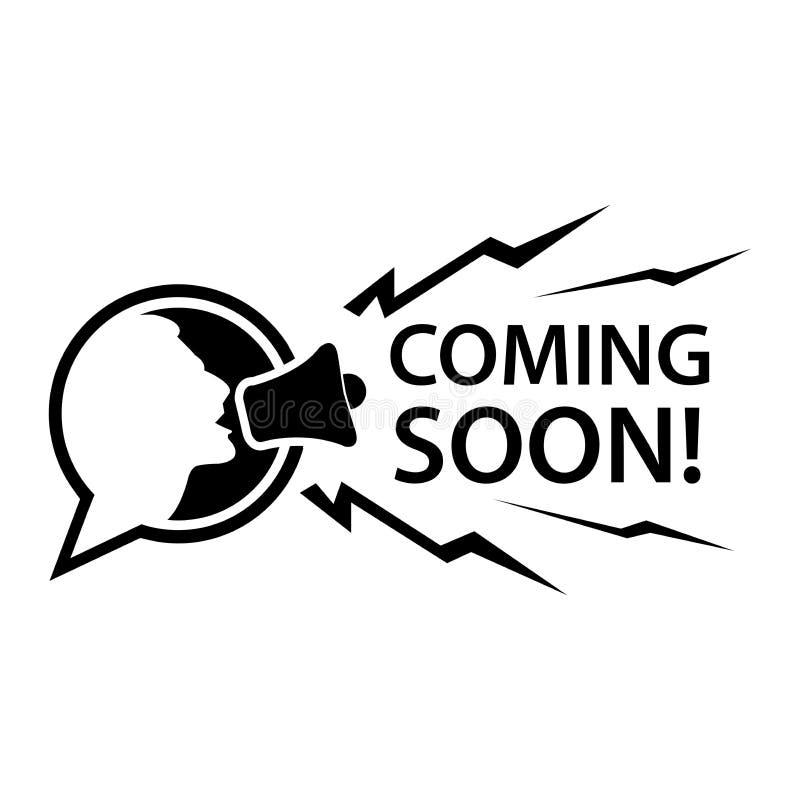 Να έρθει σύντομα με τους ανθρώπους και megaphone Επίπεδη διανυσματική απεικόνιση στο άσπρο υπόβαθρο απεικόνιση αποθεμάτων