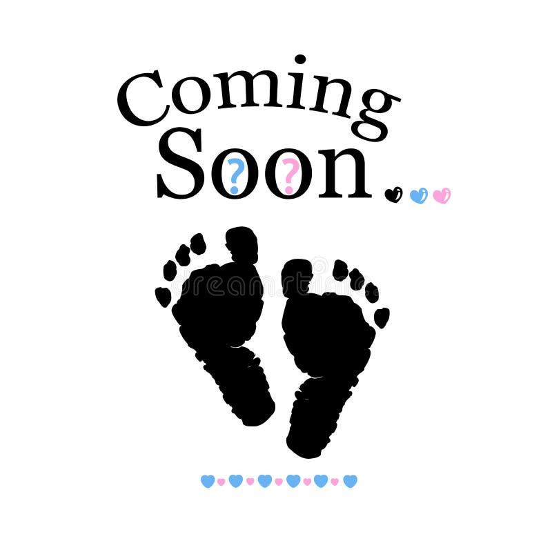 Να έρθει σύντομα μωρό Το γένος μωρών αποκαλύπτει το σύμβολο Κορίτσι, αγόρι και δίδυμο σύμβολο μωρών απεικόνιση αποθεμάτων