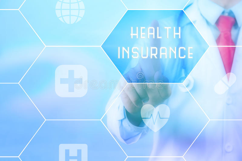 Να αγγίξει & x27 γιατρών Υγεία Insurance& x27  στην εικονική οθόνη στοκ εικόνες