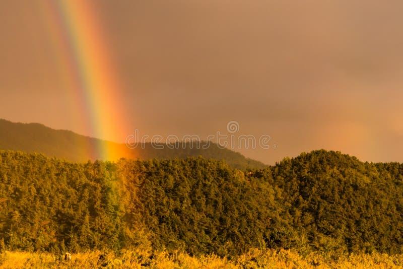 Να αγγίξει ουράνιων τόξων των χρωμάτων σε μια νεφελώδη ημέρα που σπάζει μέσω στοκ εικόνα με δικαίωμα ελεύθερης χρήσης