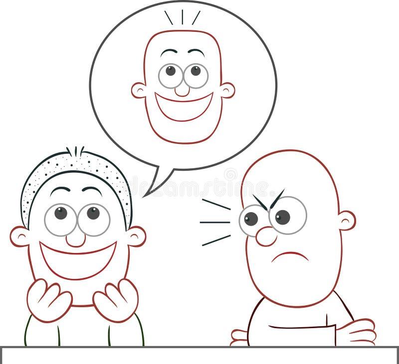 Να αστειευτεί φίλων έχει το επίπεδο φαλακρό κεφάλι ελεύθερη απεικόνιση δικαιώματος