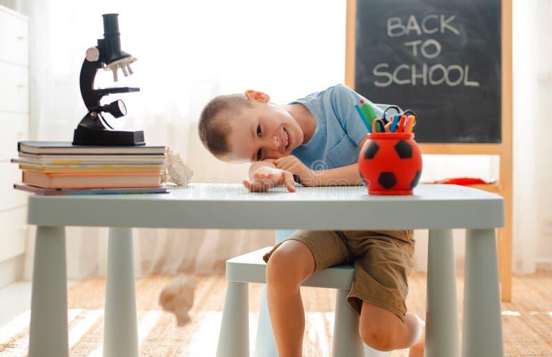 Να βρεθεί τάξεων συνεδρίασης σχολικών αγοριών στο σπίτι γραφείο που γεμίζουν με το μαθητή εκπαιδευτικού υλικού βιβλίων οκνηρό που στοκ φωτογραφίες με δικαίωμα ελεύθερης χρήσης