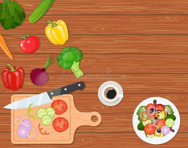 Να δειπνήσει πίνακας με τα λαχανικά απεικόνιση αποθεμάτων