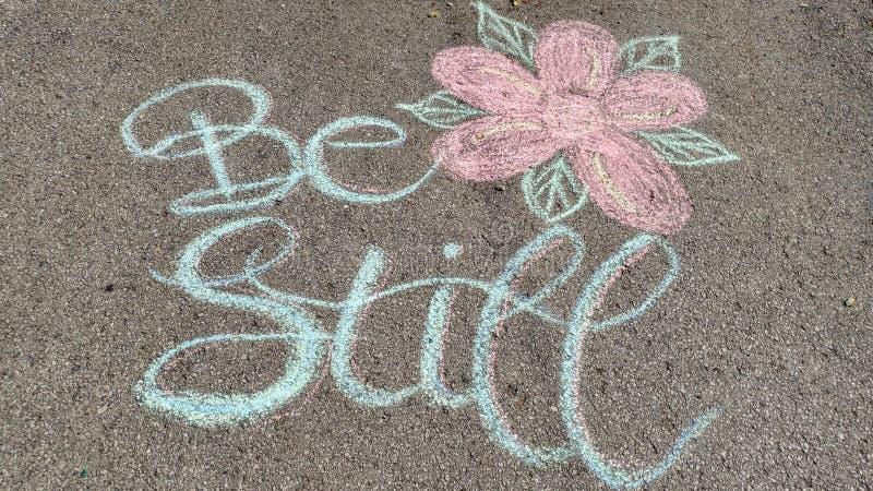 Να είστε ακόμα Driveway λουλούδι καλλιγραφίας τέχνης κιμωλίας διανυσματική απεικόνιση