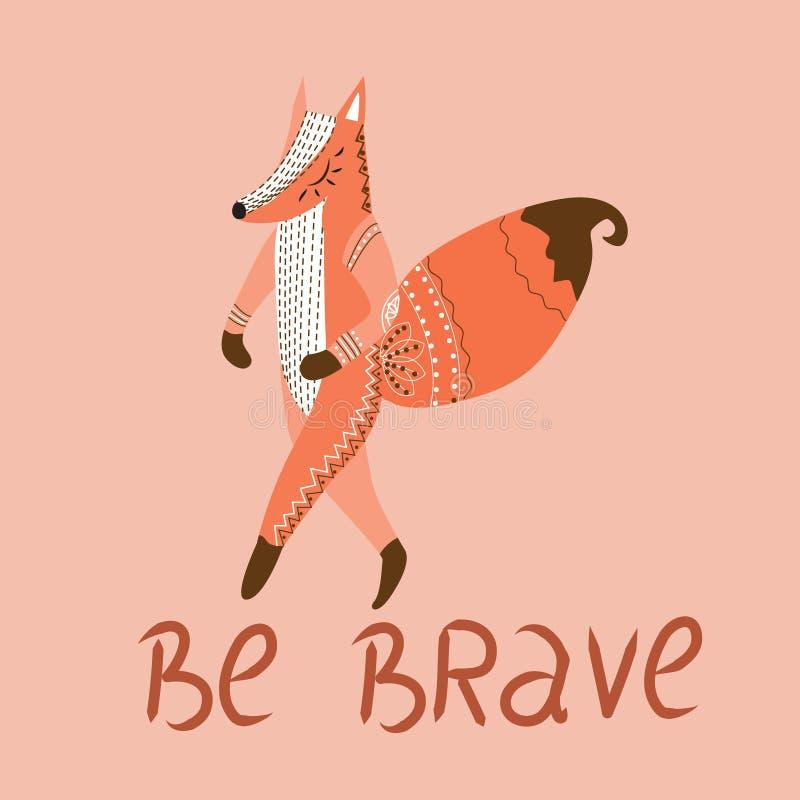 Να είστε γενναίος, αφίσα για τα παιδιά με τη χαριτωμένη αλεπού στο ύφος κινούμενων σχεδίων και συρμένη χέρι εγγραφή r απεικόνιση αποθεμάτων