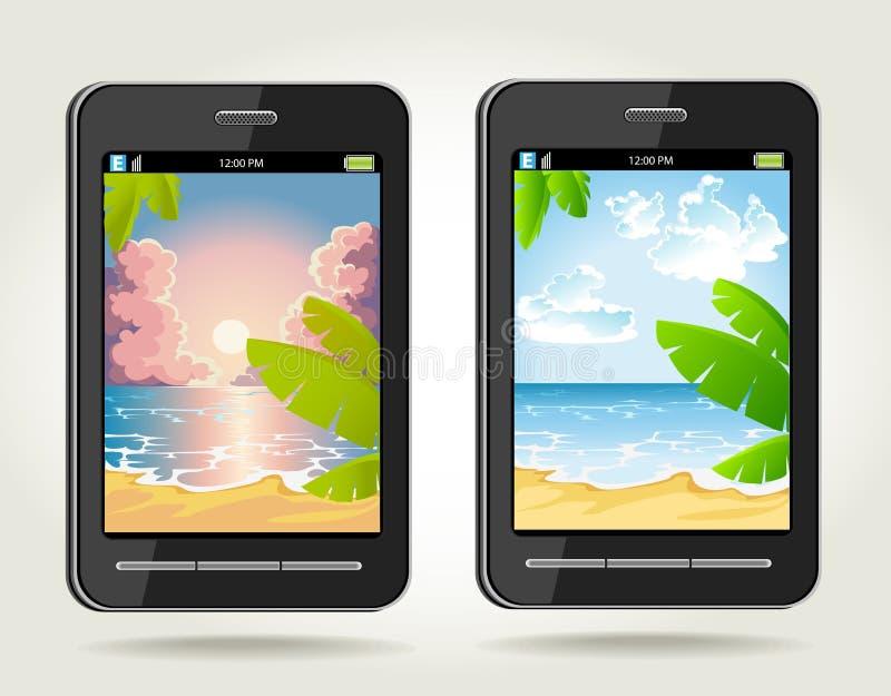 να είστε δέντρα ηλιοβασιλέματος τηλεφωνικών φωτογραφιών φοινικών διανυσματική απεικόνιση