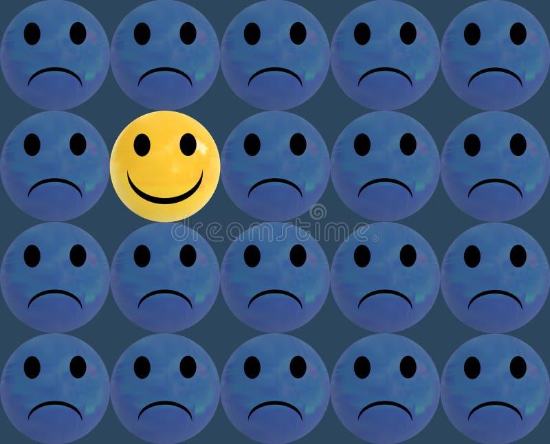 Να είστε διαφορετική, ΔΙΑΝΥΣΜΑΤΙΚΗ απεικόνιση, στιλπνό υπόβαθρο σφαιρών προσώπων Smiley διανυσματική απεικόνιση