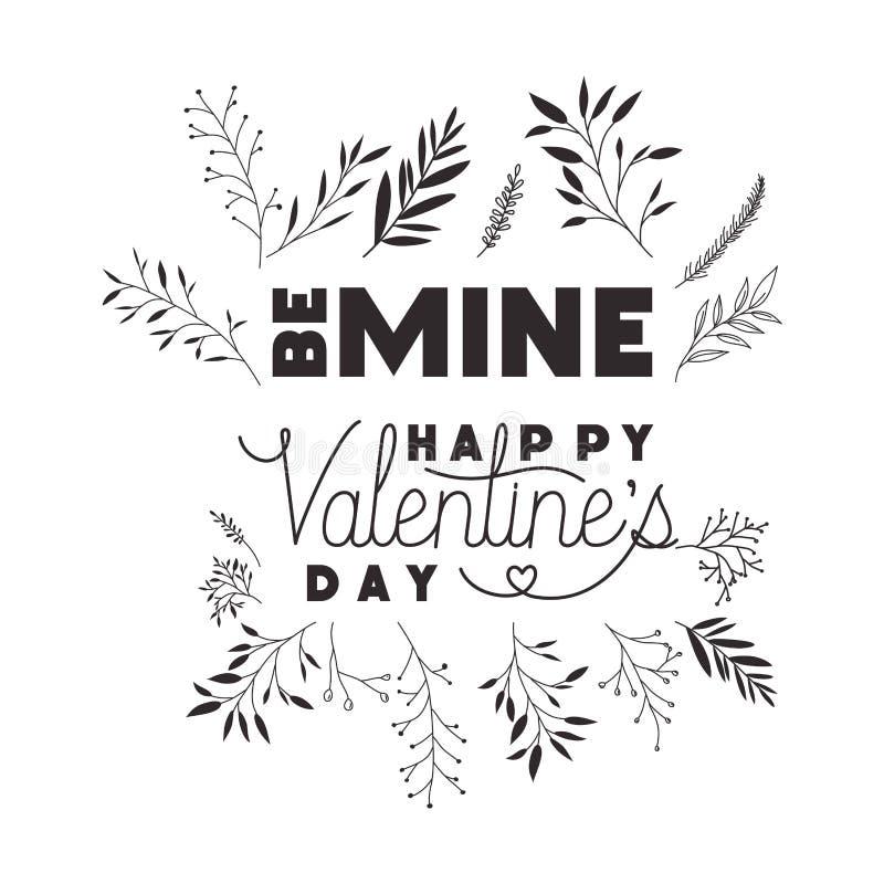 Να είστε ευτυχής ετικέτα ημέρας βαλεντίνων ορυχείων με τα εικονίδια κορωνών λουλουδιών διανυσματική απεικόνιση