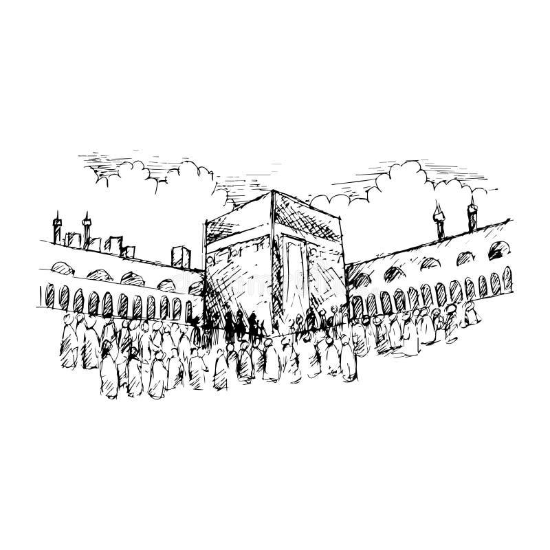 Να είστε ευτυχής ότι η ζωή είναι καλή Σκίτσο ιερού Kaaba στη Μέκκα Σαουδική Αραβία διανυσματική απεικόνιση