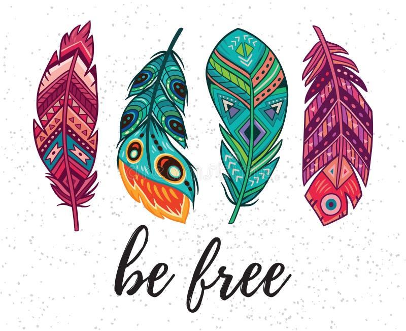 Να είστε ελεύθερος Διανυσματική κάρτα με τα εθνικά διακοσμητικά φτερά απεικόνιση αποθεμάτων