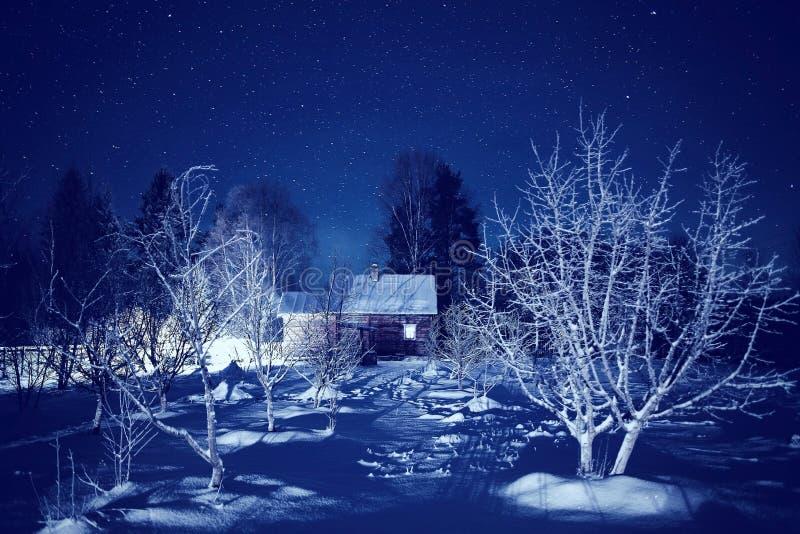 να είστε μπορεί να σχεδιάσει το χρησιμοποιημένο νύχτα χειμώνα τοπίων απεικόνισής σας στοκ εικόνα