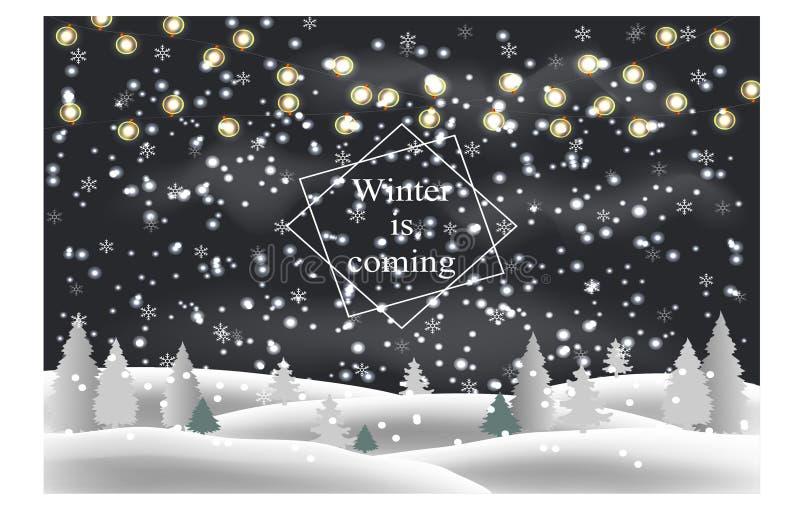 να είστε μπορεί να σχεδιάσει το χρησιμοποιημένο νύχτα χειμώνα τοπίων απεικόνισής σας Κλίσεις χιονιού, δέντρα, γιρλάντες, μειωμένο απεικόνιση αποθεμάτων