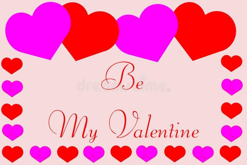 Να είστε ο βαλεντίνος μου με τα χαριτωμένα σύνορα καρδιών διανυσματική απεικόνιση
