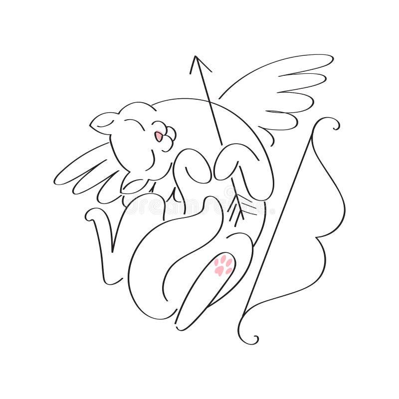 Να είστε ο βαλεντίνος μου - cupid απεικόνιση γατών διανυσματική απεικόνιση