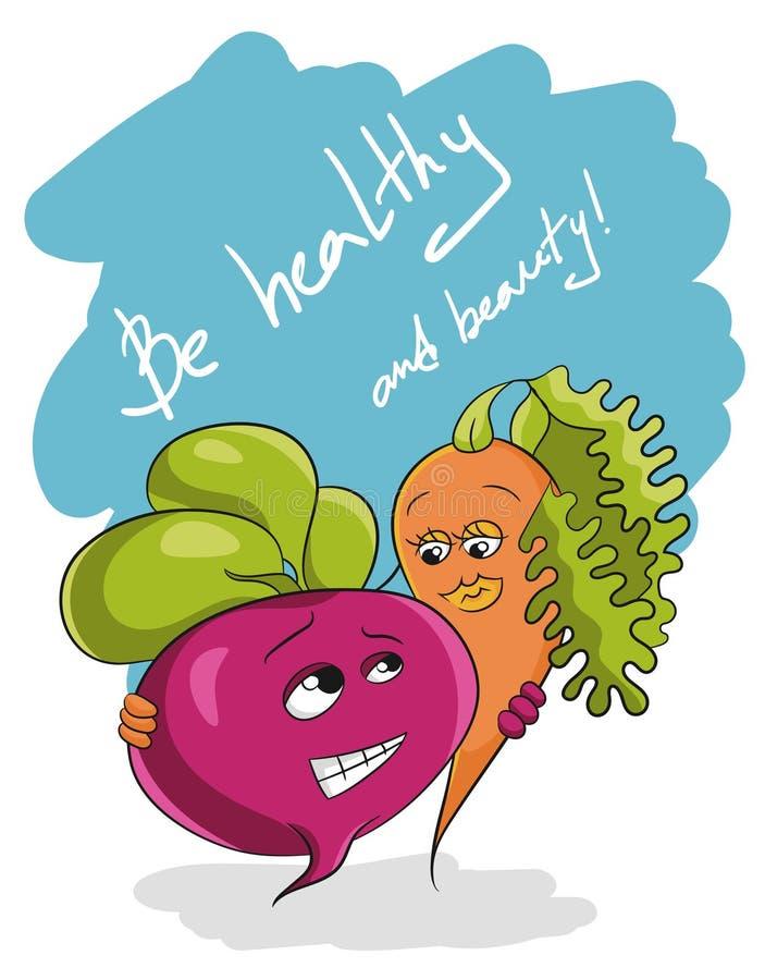 Να είστε υγιή και λαχανικά υγιεινής διατροφής συνθήματος ομορφιάς ελεύθερη απεικόνιση δικαιώματος