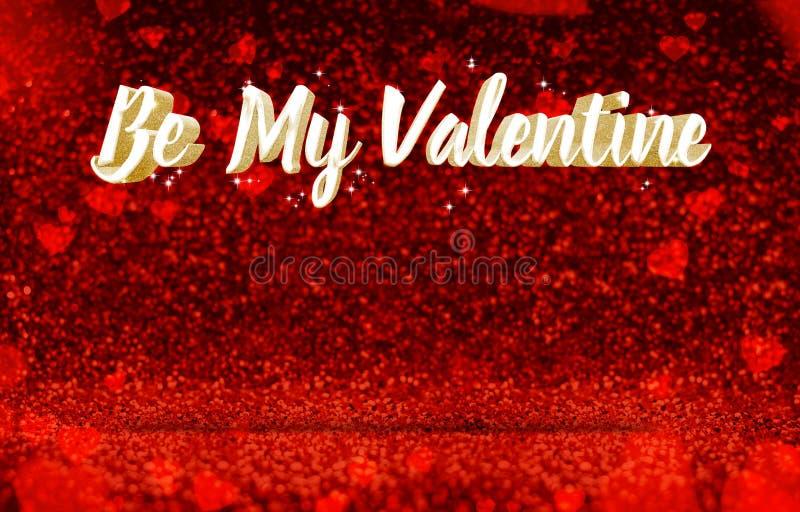 Να είστε Valentine3d μου καθιστώντας χρυσό glitz στον κόκκινο ορθοστάτη προοπτικής απεικόνιση αποθεμάτων