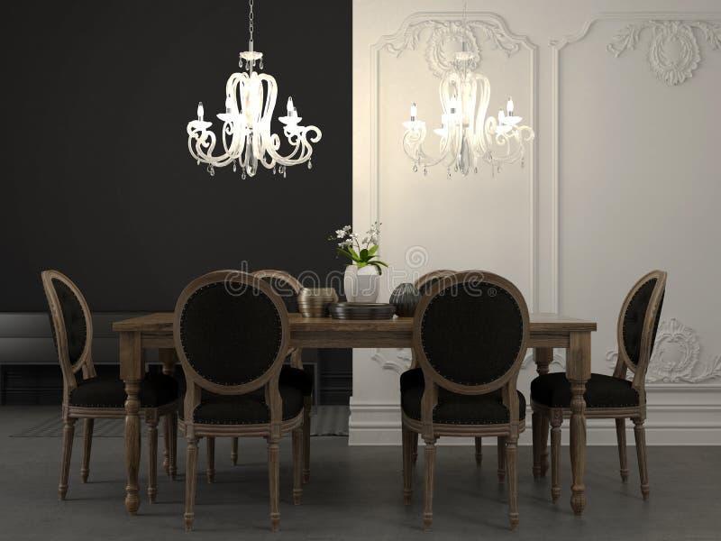 Να δειπνήσει πίνακας και όμορφος άσπρος πολυέλαιος στοκ φωτογραφίες