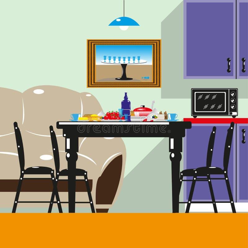 Να δειπνήσει πίνακας με τις συσκευές και τρόφιμα στην κουζίνα Χρωματισμένη διανυσματική απεικόνιση διανυσματική απεικόνιση
