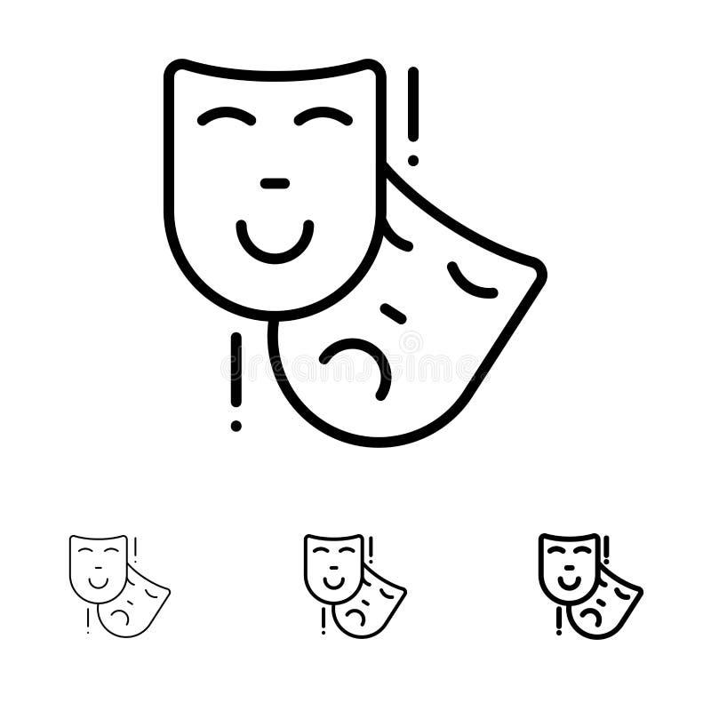 Να ενεργήσει, μάσκες, Persona, τολμηρό και λεπτό μαύρο σύνολο εικονιδίων γραμμών θεάτρων διανυσματική απεικόνιση