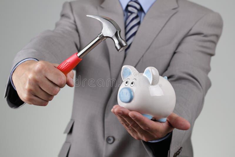 Να επιτεθεί τη piggy τράπεζα στοκ εικόνες
