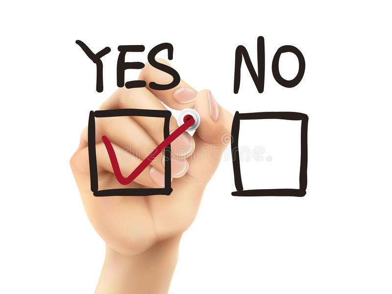 Να επιλέξει ναι στην έρευνα από το τρισδιάστατο χέρι απεικόνιση αποθεμάτων