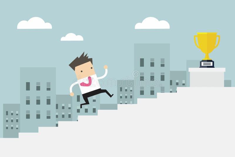Να δημιουργήσουν επιχειρηματιών τα σκαλοπάτια, επιχειρησιακό άτομο έννοιας κερδίζουν το επίπεδο τιμών απεικόνιση αποθεμάτων