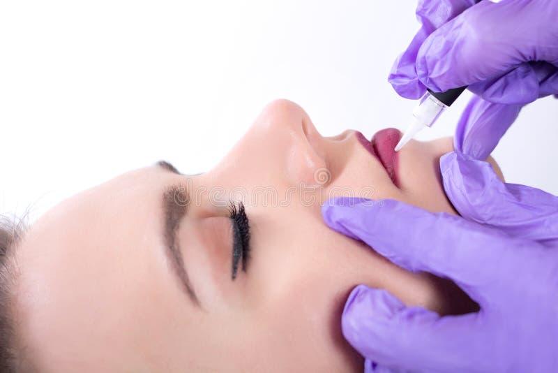 Να ισχύσει Cosmetologist μόνιμο αποτελεί στα κόκκινα χείλια στοκ εικόνα με δικαίωμα ελεύθερης χρήσης