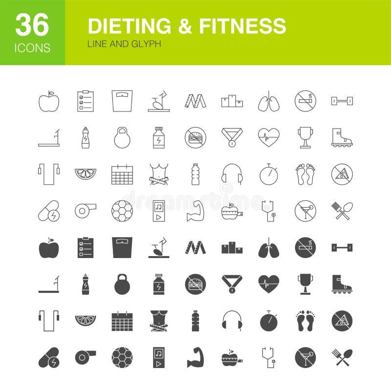 Να κάνει δίαιτα εικονίδια Glyph Ιστού γραμμών ικανότητας ελεύθερη απεικόνιση δικαιώματος