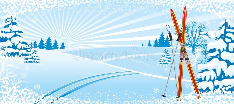 Να κάνει σκι χειμερινό υπόβαθρο διανυσματική απεικόνιση