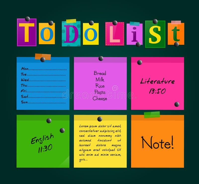 Να κάνει τον κατάλογο από τις επιστολές και τις ζωηρόχρωμες κολλώδεις σημειώσεις συνδέθηκε με έναν πίνακα με τους μαγνήτες διάνυσ απεικόνιση αποθεμάτων