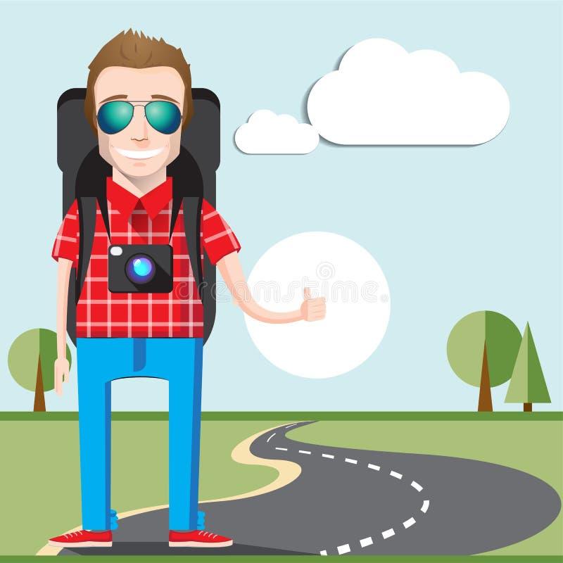 Να κάνει ωτοστόπ έννοια τουρισμού Νέος Hitchhiker που ταξιδεύει με τη μεγάλη κάμερα τσαντών και φωτογραφιών που καλεί ένα αυτοκίν διανυσματική απεικόνιση