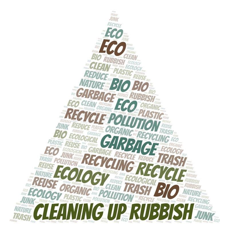 Να καθαρίσει επάνω το σύννεφο λέξης σκουπιδιών ελεύθερη απεικόνιση δικαιώματος