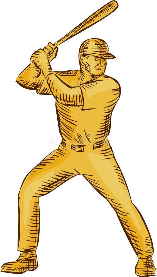 Να κτυπήσει κτυπήματος μπέιζ-μπώλ ρόπαλο χαρακτική απεικόνιση αποθεμάτων