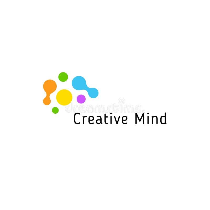 Να μαίνει εγκεφάλου πρότυπο επιχειρησιακών απομονωμένο διάνυσμα λογότυπων Ζωηρόχρωμα δημιουργικά συνδεδεμένα σημεία μυαλού logoty διανυσματική απεικόνιση