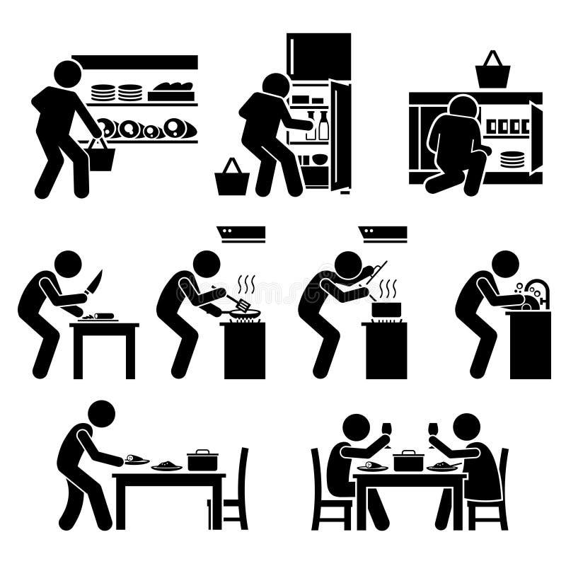 Να μαγειρεψει στο σπίτι και προετοιμασία των τροφίμων Clipart διανυσματική απεικόνιση