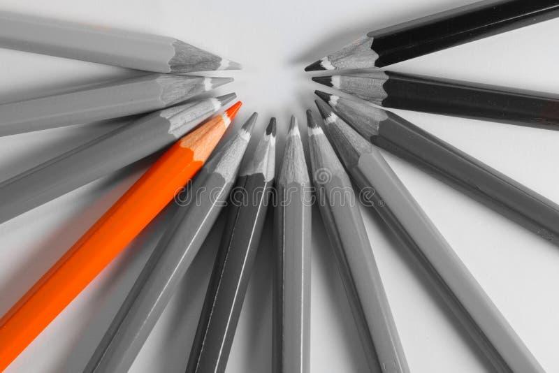 Να ξεχωρίσει το πορτοκαλί μολύβι από τα γκρίζα μολύβια στοκ φωτογραφίες