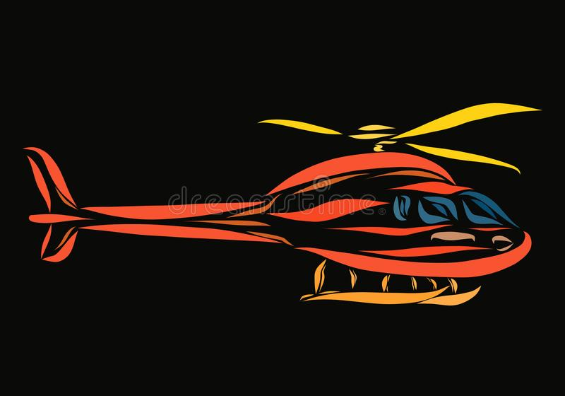 Να οδηγήσει ένα πορτοκαλί ελικόπτερο σε ένα μαύρο υπόβαθρο ελεύθερη απεικόνιση δικαιώματος