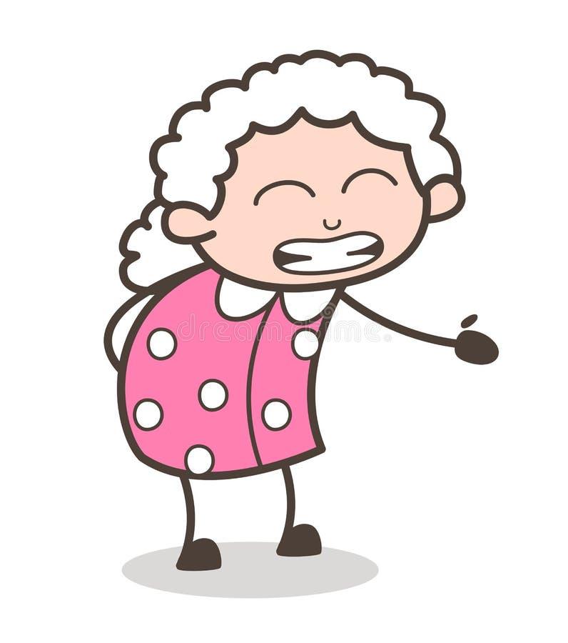 Να πάρει γιαγιάδων κινούμενων σχεδίων ενοχλεί τη διανυσματική απεικόνιση έκφρασης προσώπου διανυσματική απεικόνιση