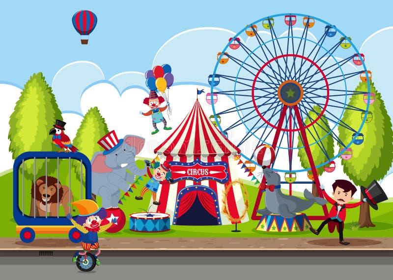 Να περιοδεύσει το τσίρκο στο πάρκο διανυσματική απεικόνιση