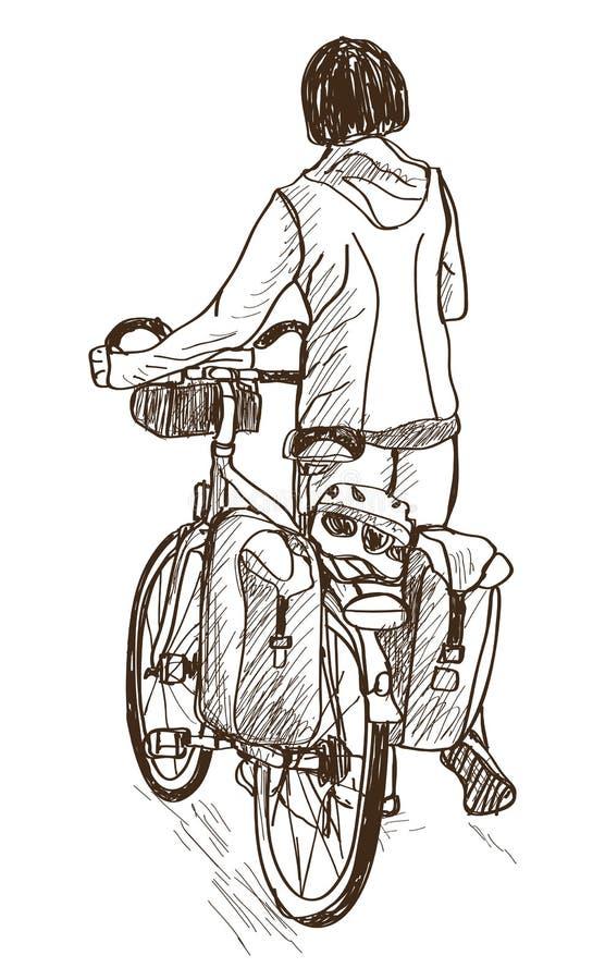 Να περιοδεύσει γυναικείων ποδηλάτων σχέδιο, διάνυσμα και απεικόνιση πράσινων φώτων ελεύθερη απεικόνιση δικαιώματος