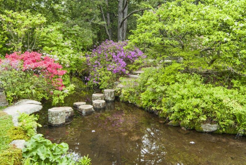 Να περπατήσει πέτρες για να διασχίσει ένα ρεύμα κήπων στοκ φωτογραφία