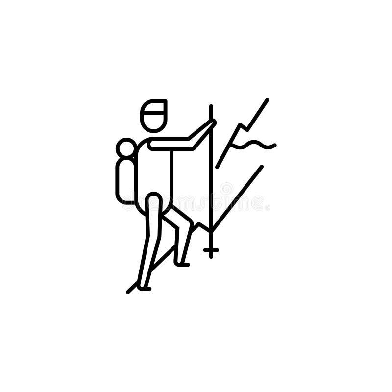 να πραγματοποιήσει οδοιπορικό το εικονίδιο περιλήψεων Στοιχείο του εικονιδίου απεικόνισης τρόπου ζωής r Σημάδια και εικονίδιο συλ ελεύθερη απεικόνιση δικαιώματος