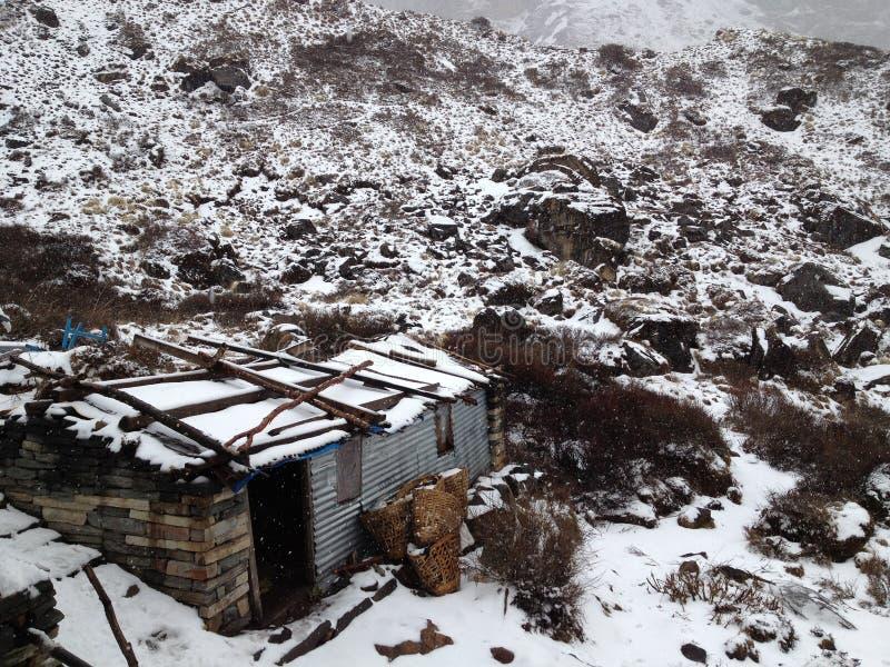 Να πραγματοποιήσει οδοιπορικό στο στρατόπεδο βάσεων Annapurna Βουνά του Ιμαλαίαυ - Gokyo, Cho Oyu στοκ φωτογραφία με δικαίωμα ελεύθερης χρήσης